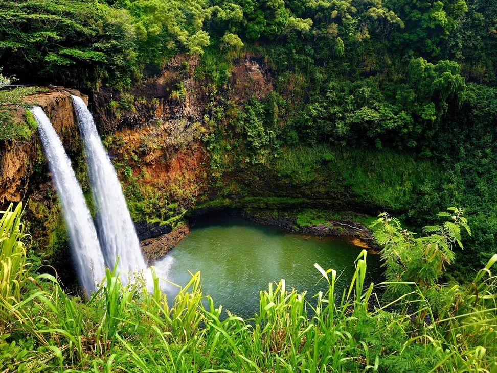 Luscious Hawaiian waterfall